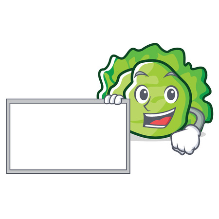 With board lettuce character cartoon style vector illustration