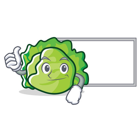 Thumbs up with board lettuce character cartoon style vector illustration