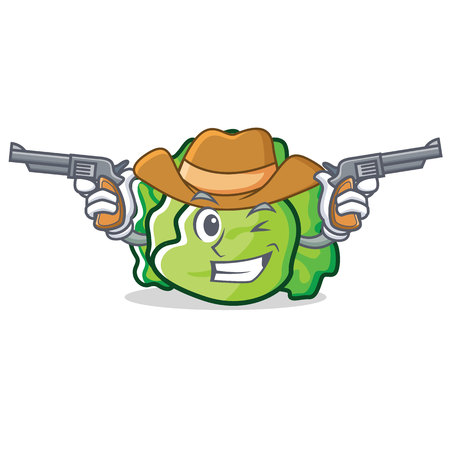Cowboy lettuce character cartoon style vector illustration Illustration