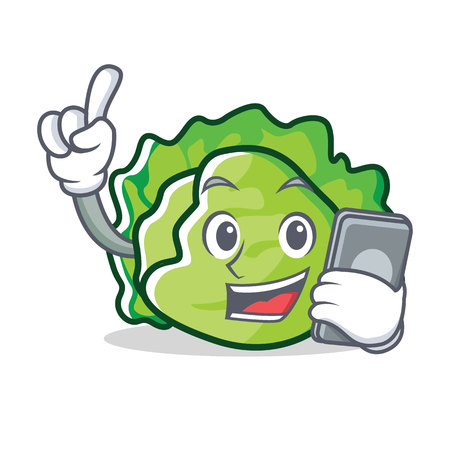 With phone lettuce character cartoon style