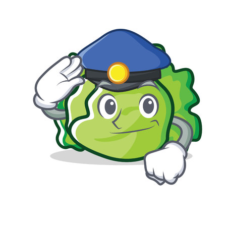 Police lettuce character cartoon style