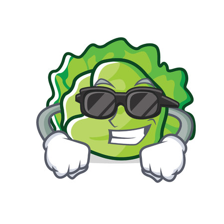 Super cool lettuce character cartoon style vector illustration