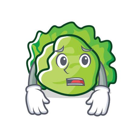 Afraid lettuce character cartoon style