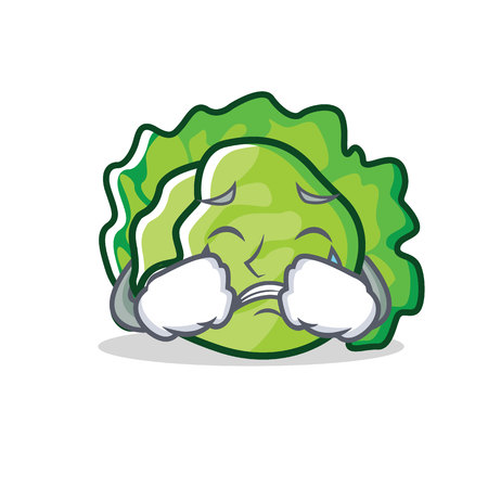 Crying lettuce character cartoon style vector illustration