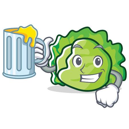 With lettuce lettuce character mascot style vector illustration Illustration