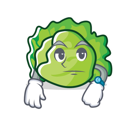 Waiting lettuce character mascot style