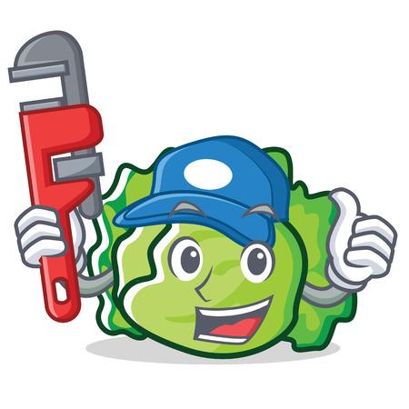 Plumber lettuce character mascot style vector illustration Illustration