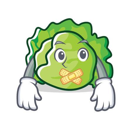 Silent lettuce character mascot style vector illustration