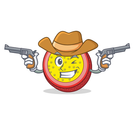 Cowboy passion fruit character cartoon. Illustration