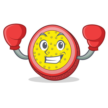 Boxing passion fruit character cartoon.