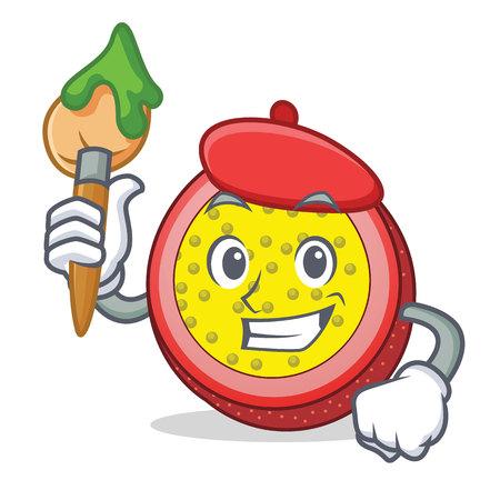 Artist passion fruit character cartoon vector illustration