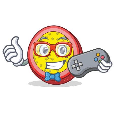 Gamer passion fruit mascot cartoon vector illustration