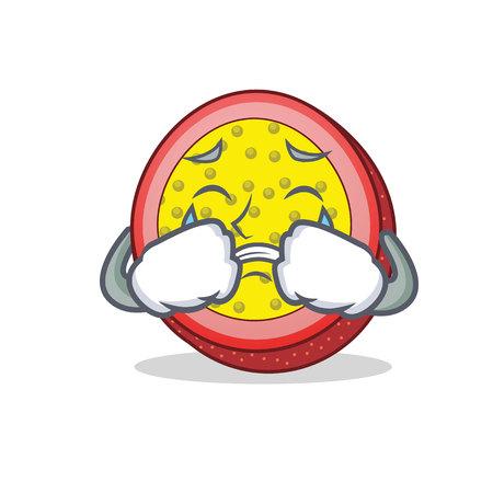 Crying passion fruit mascot cartoon vector illustration Illustration