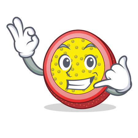 Call me passion fruit mascot cartoon Illustration
