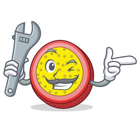 Mechanic passion fruit mascot cartoon