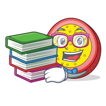Student with book passion fruit mascot cartoon