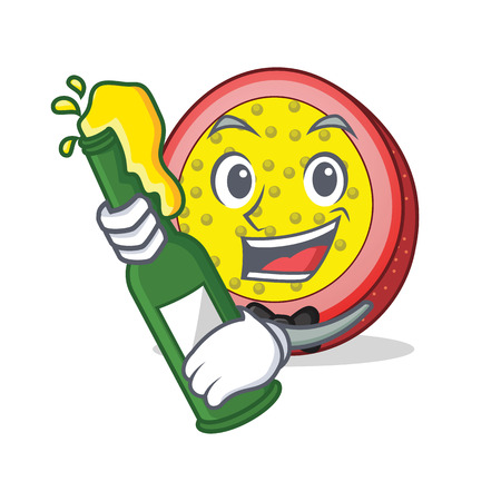 With beer passion fruit mascot cartoon