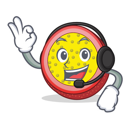 With headphone passion fruit mascot cartoon