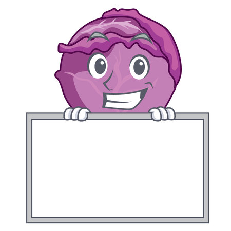 Grinsend mit Brett roten Kohl Charakter Cartoon Standard-Bild - 93793480
