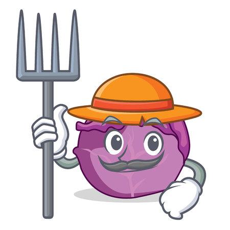 Farmer red cabbage character cartoon Illustration