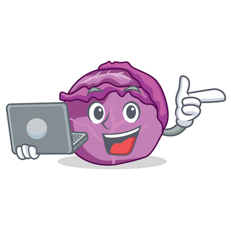 With laptop red cabbage character cartoon