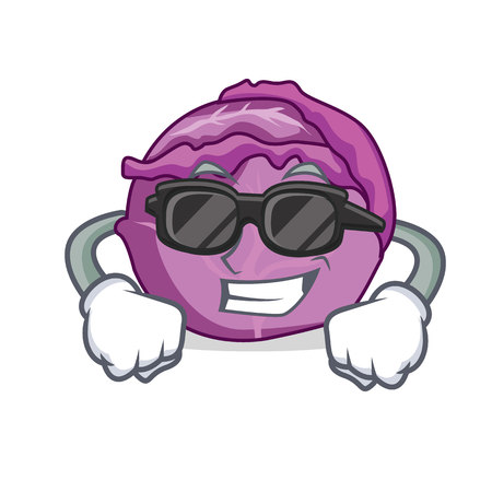Super cool red cabbage character cartoon