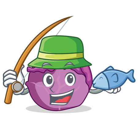 Fishing red cabbage mascot cartoon illustration.