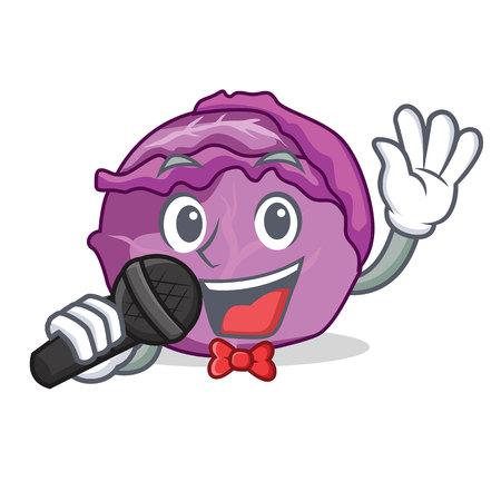 Singing red cabbage mascot cartoon illustration.