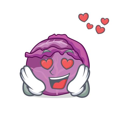 In love red cabbage mascot cartoon Ilustração