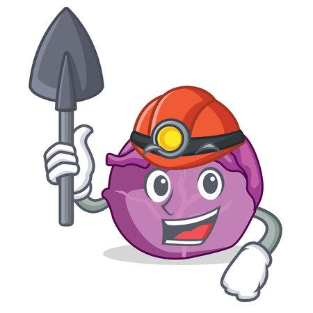 Miner red cabbage mascot cartoon