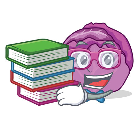 Student with book red cabbage mascot cartoon vector illustration