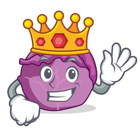 King red cabbage mascot cartoon vector illustration