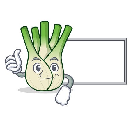 Thumbs up with board fennel character cartoon style.