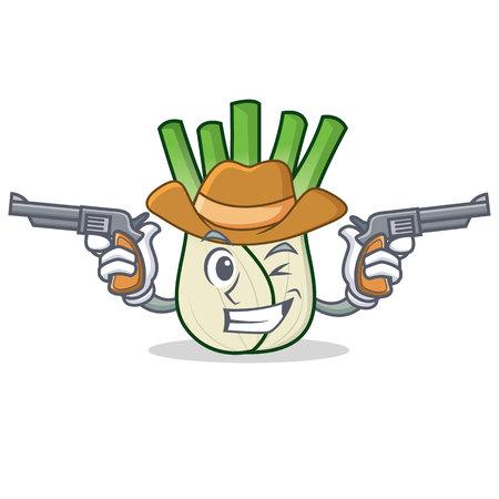 Cowboy fennel character cartoon style vector illustration Illustration