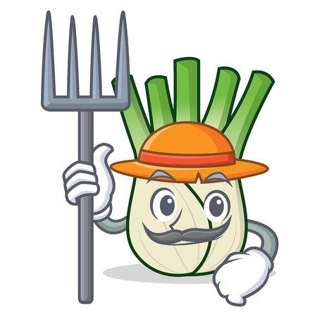 Farmer fennel character cartoon style vector illustration Illustration
