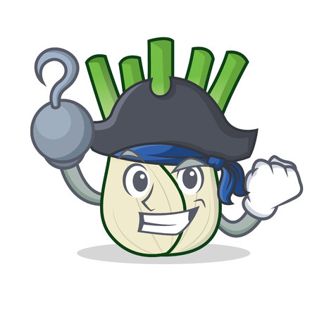 Pirate fennel character cartoon style.