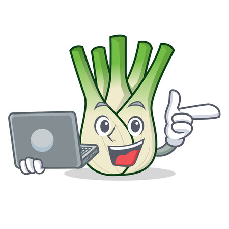 With laptop fennel character cartoon style. Illustration