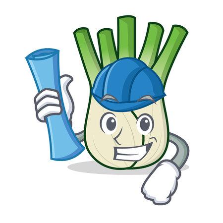 Architect fennel character cartoon style Illustration