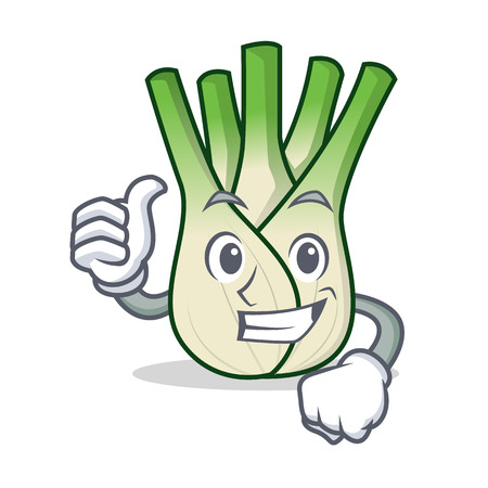 Thumbs up fennel character cartoon style