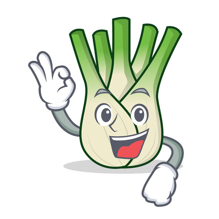 Okay fennel character cartoon style Illustration