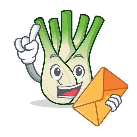With envelope fennel character cartoon style vector illustration. Illustration
