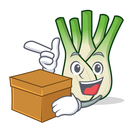 With box fennel character cartoon style vector illustration.