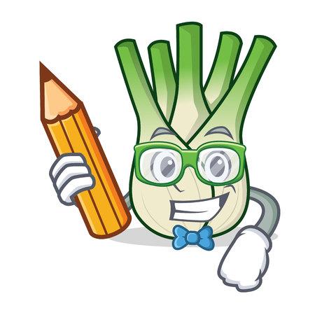 Student fennel character cartoon style vector illustration.