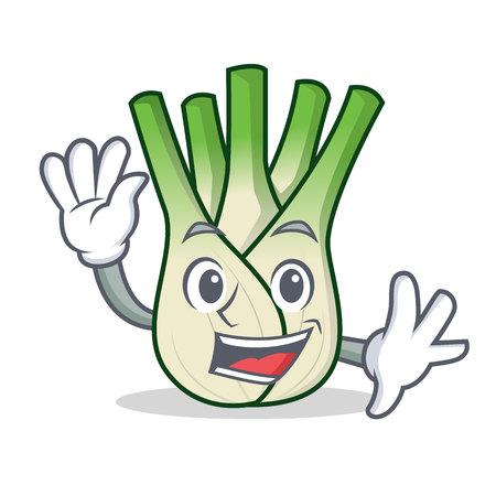 Waving fennel character cartoon style
