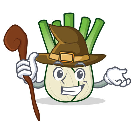 Witch fennel mascot cartoon style