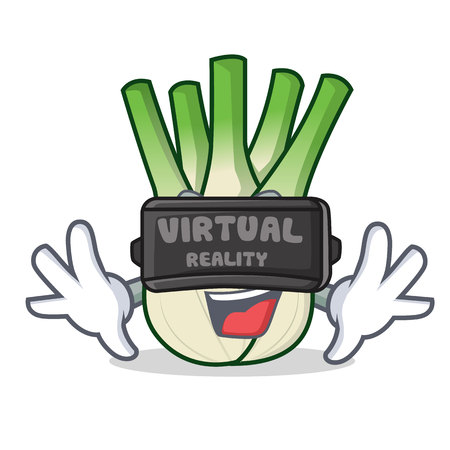 With virtual reality fennel mascot cartoon style
