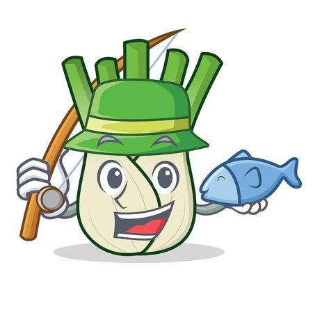 Fishing fennel mascot cartoon style