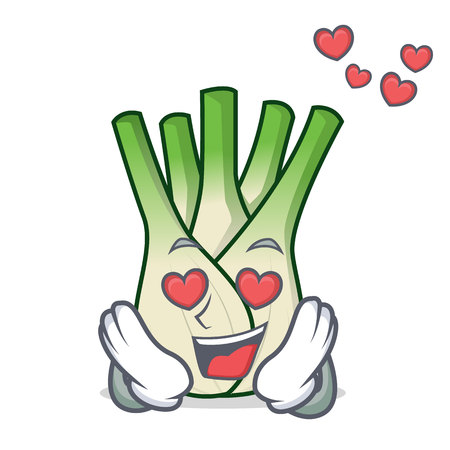 In love fennel mascot cartoon style