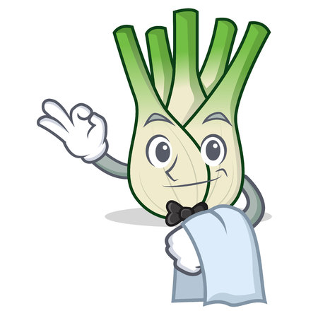 Waiter fennel mascot cartoon style