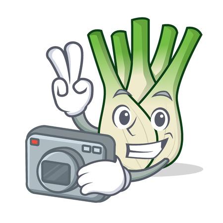 Photographer fennel mascot cartoon style